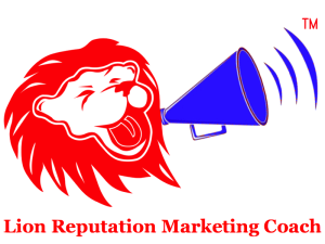 lion reputation marketing coach logo with name underneath